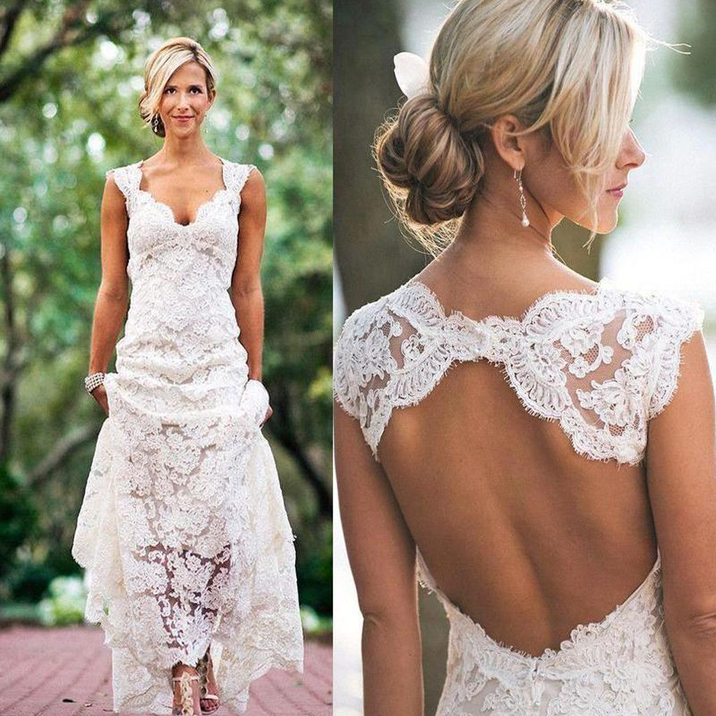 2017 Lace Cap Sleeve Open Back Beach Vintage Country Wedding Party ...