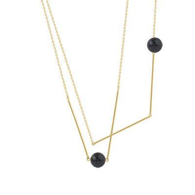 #SAUTOIR plaqué or verre noir #MATY #Bijoux - www.maty.com