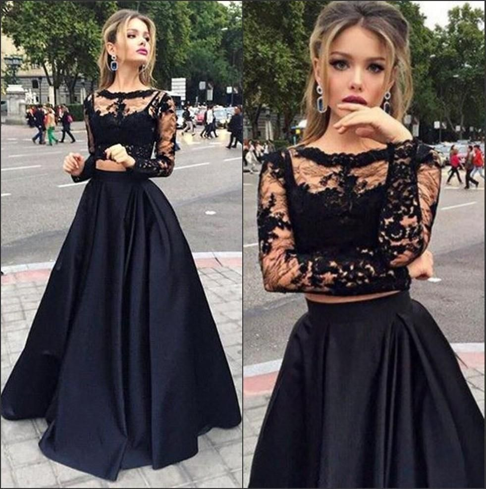 Cheap long sleeves prom dresses black two pieces lace top and satin