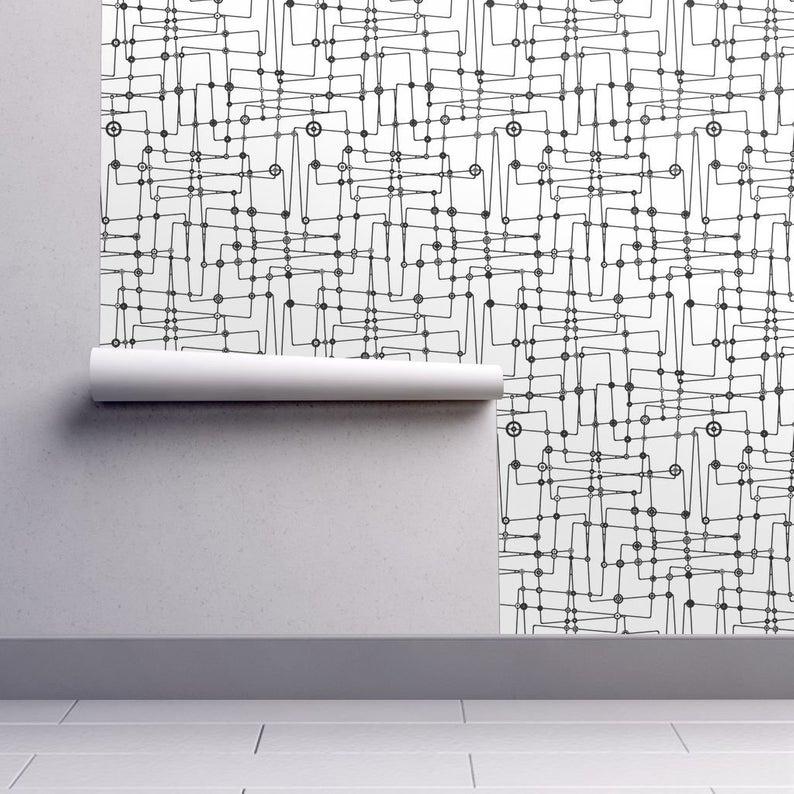 Mid Century Modern Wallpaper Astroboy Black White By Ormolu Etsy Mid Century Modern Wallpaper Modern Wallpaper Wallpaper