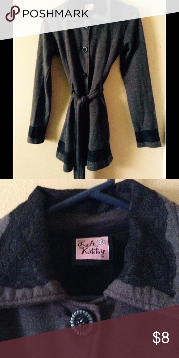 Gray coat!! Is in great condition. Has black lace on collar, sleeves,and bottom of the coat. No tears or stains. If you have any questions feel free to ask!!           -Jasmine☺️ LA kitty Jackets & Coats