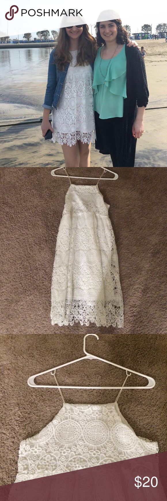 ShopRuche White Lace Dress Size S Beautiful lace detail and extremely cute with a jean jacket. Size S. Worn once ShopRuche Dresses