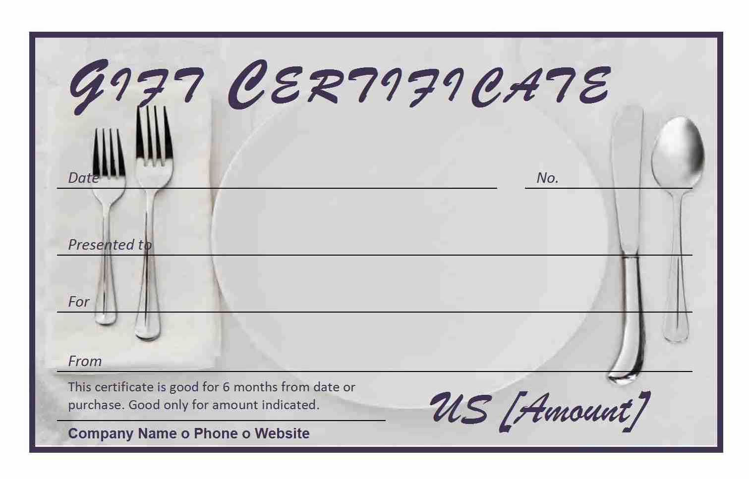 certificate gift restaurant template templates word certificates voucher blank card check stub pdf letter payroll samples pay stubs printable business