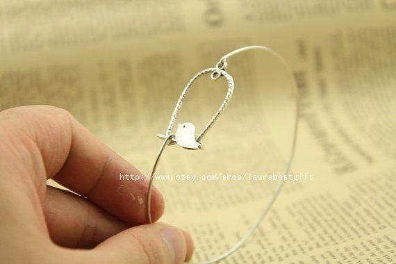 silver bird bracelet ,bangle bracelet ,  Hand stamped bangle,Charm Bracelet,friendship bracelet,love bracelet, on Etsy, $6.50