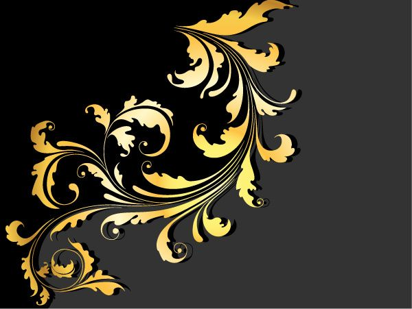 Glossy Golden Floral Ornaments Vector Background Free Frames