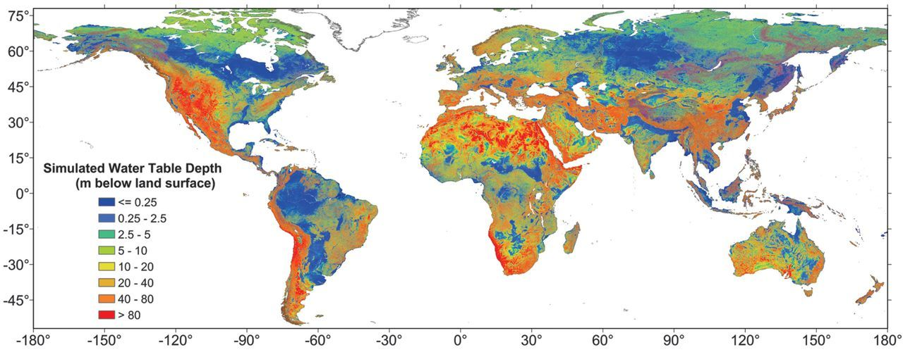 New global map of modeled groundwater depth #water #freshwater - new world map fiji country
