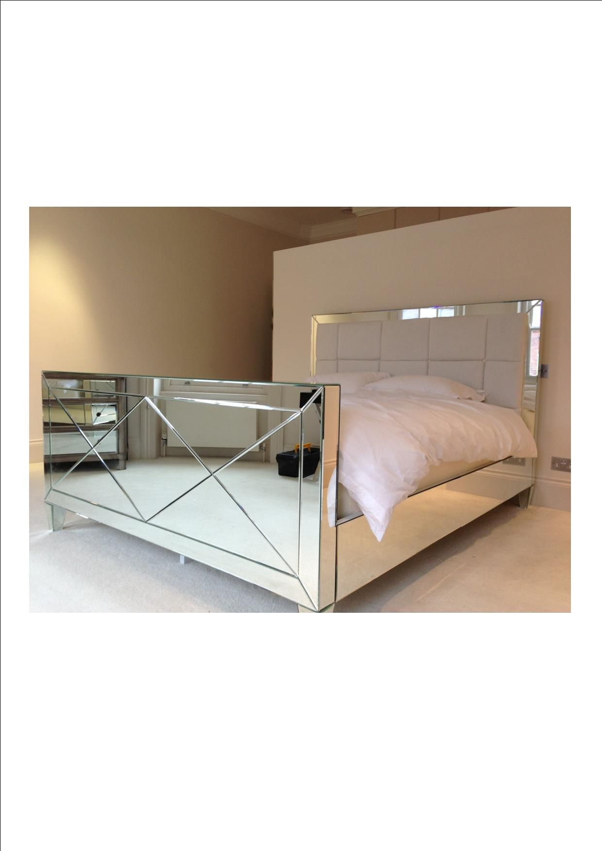 Another Manhattan In White Silk Square Tuft Headboard The Mirrored Bed Company Mirrored Bedroom Furniture Bed Design Bed Headboard Design
