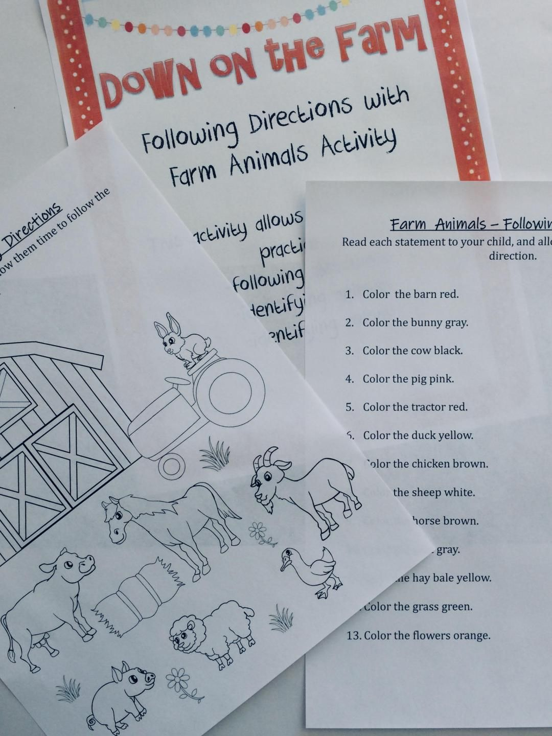 Following Directions With Farm Animals