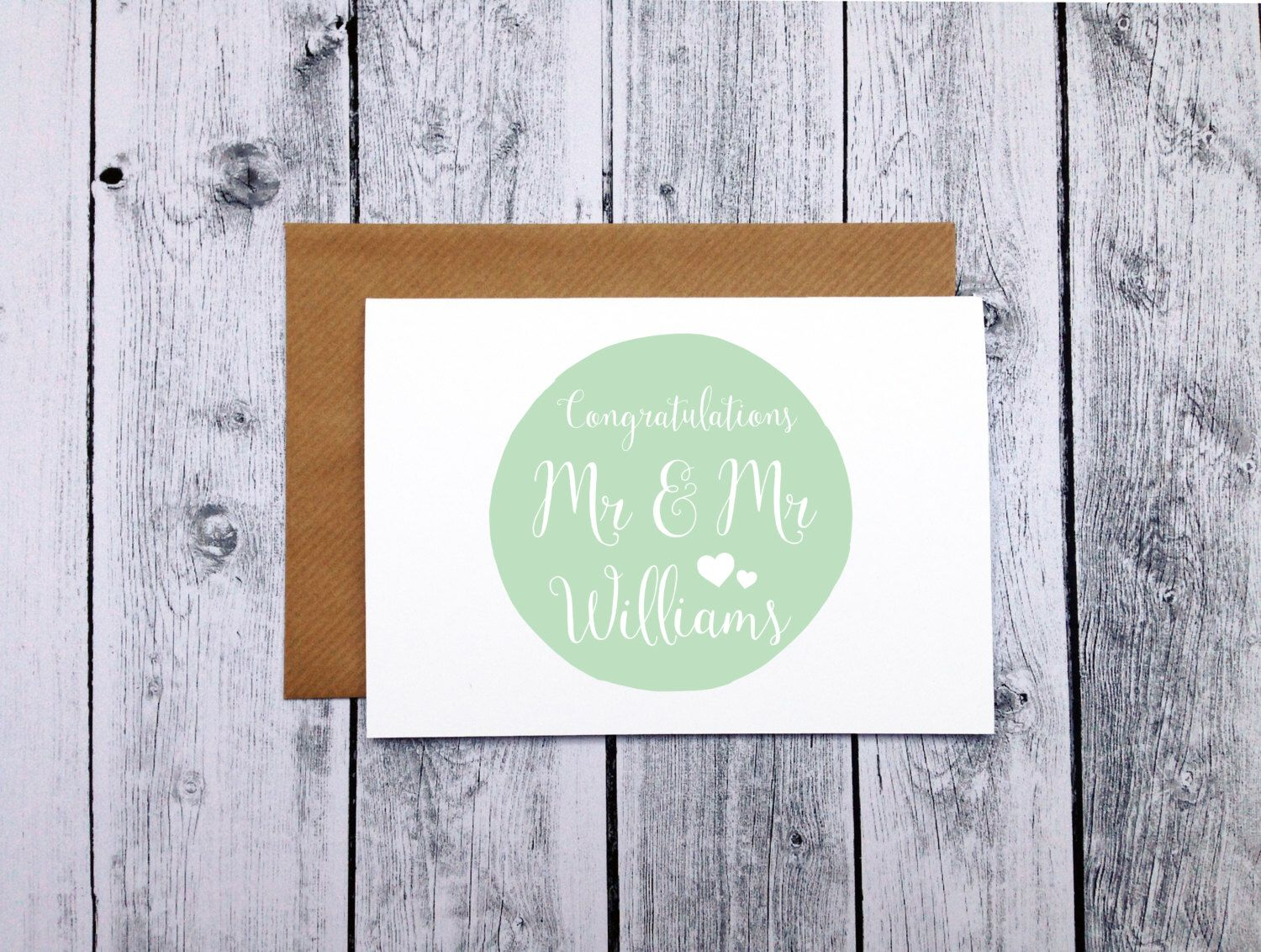 Personalized Mr Mr Newly Married Couple Greeting Card