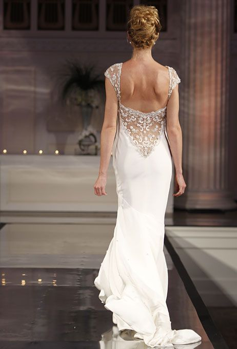 slinky #wedding dress with low-cut, beaded back and sleeves
