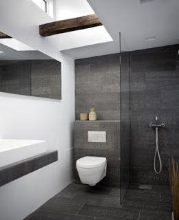 Marzua: Cuartos de baño revestidos de pizarra   Casa   Baños, Baños ...