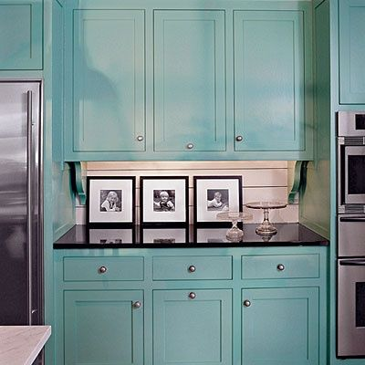 Turquoise Kitchen Cabinets With Black Countertop White Backsplash