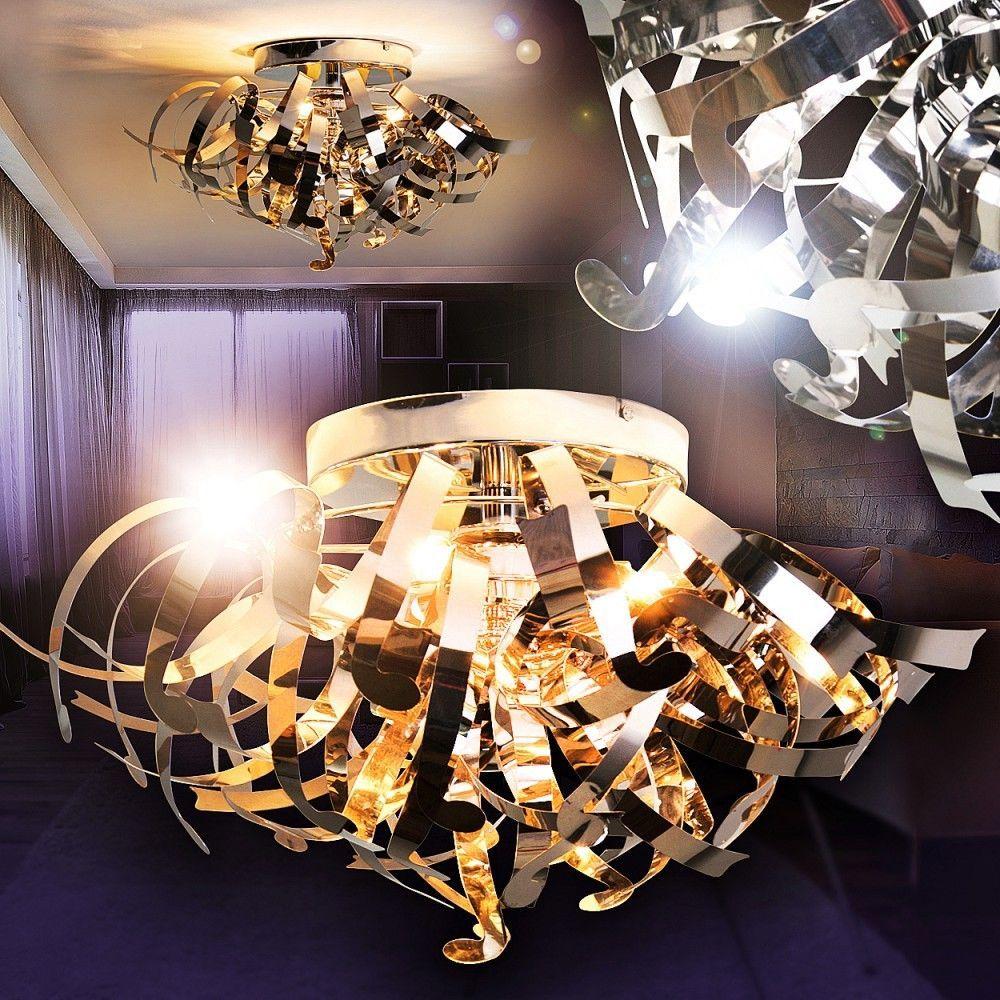 Design Deckenlampe Wohn Zimmer Lampen Küchen Strahler Chrom Flur Leuchten Ebay Küche Strahler Lampe Küche Deckenlampe