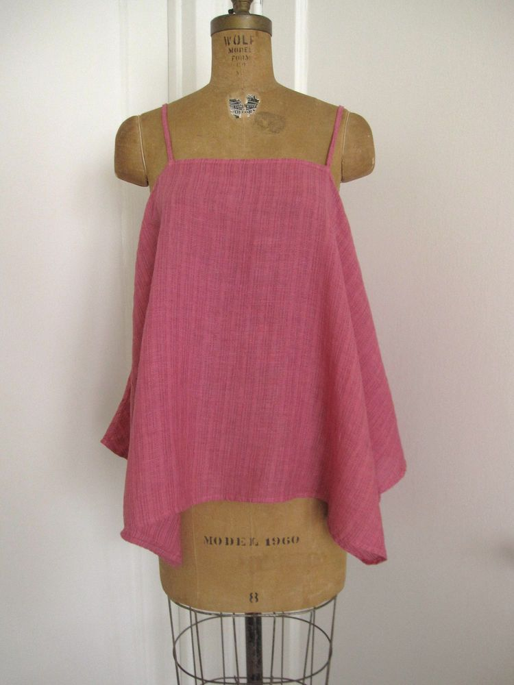 "CP SHADES NWT MAGENTA OVERDYED LINEN ""SIA"" TOP Sz. SMALL / MEDIUM #CPSHADES #Spaghettistrapasymetricalhemlinetop #All"