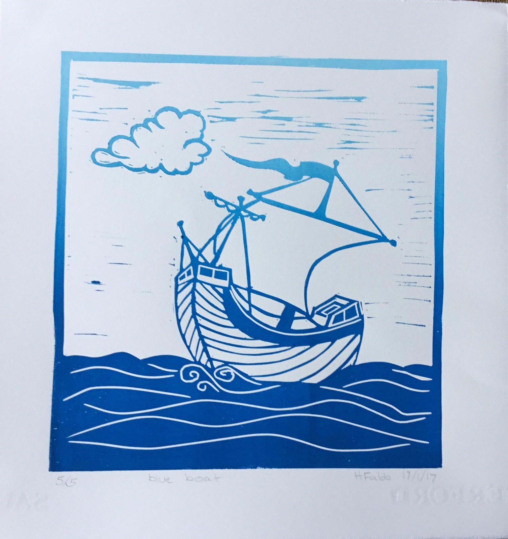 Blue boat Lino Cut by H Fabb