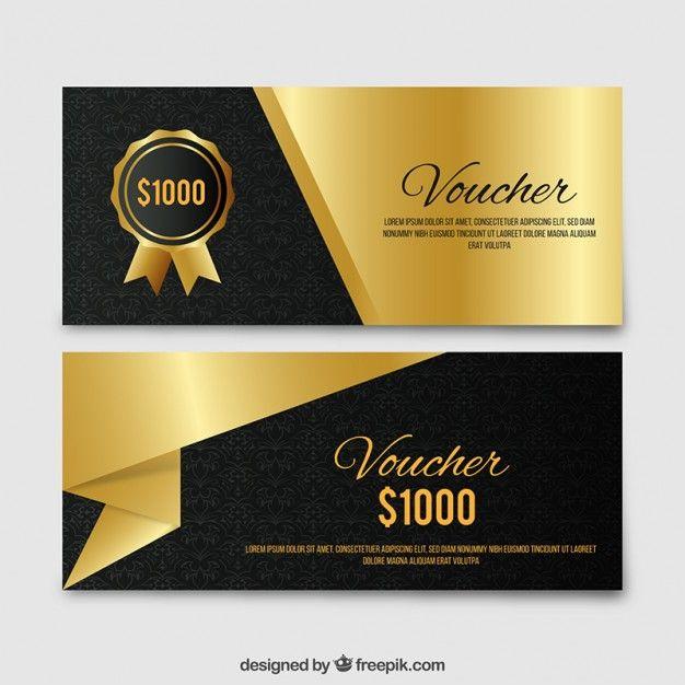 Golden elegant gift voucher set Free Vector Card \ Banner - sample gift card
