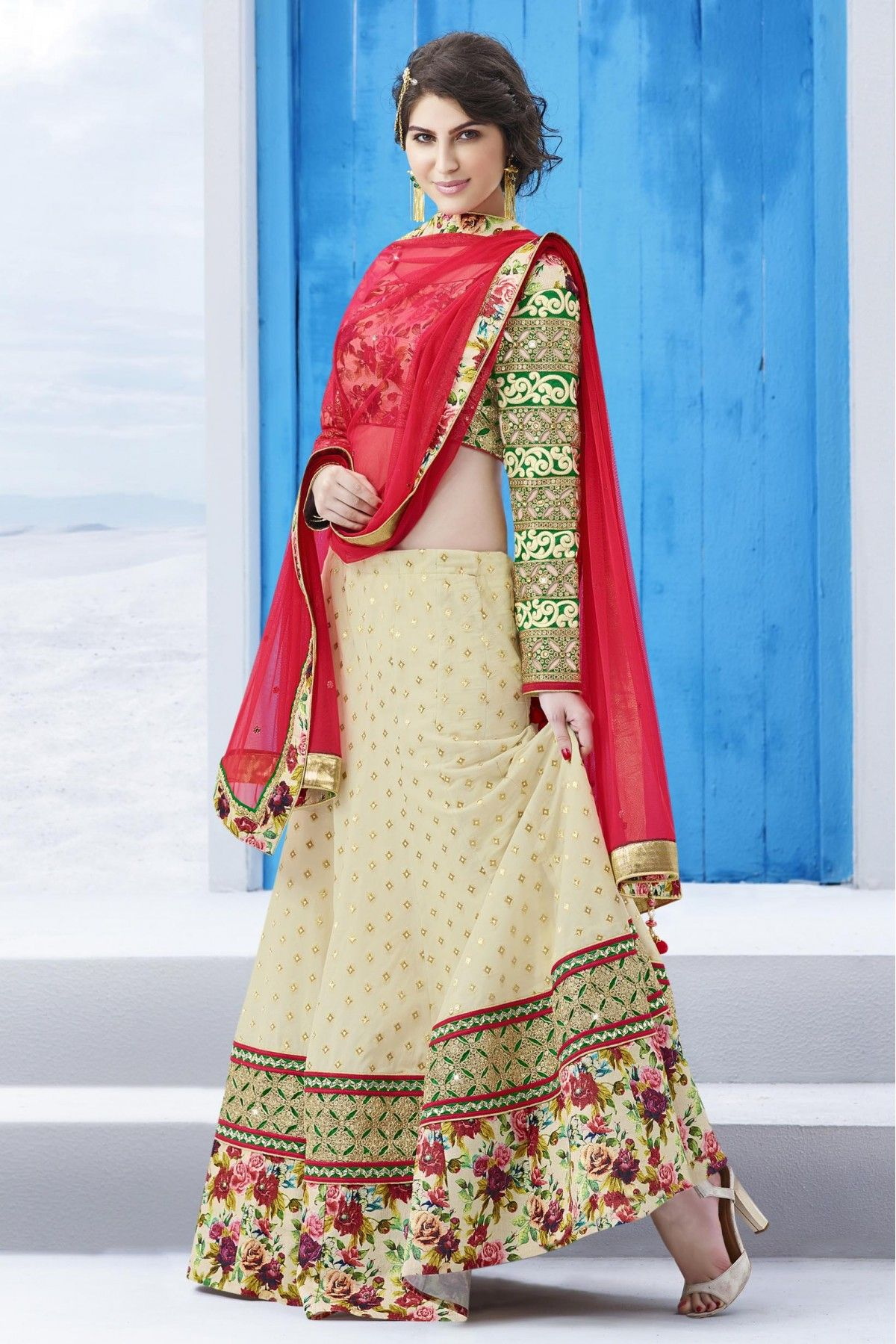 fcbffaaad1a155 Cream and Red Colour Khadi Georgette Fabric Party Wear Lehenga Comes With  Matching Pure Silk Fabric