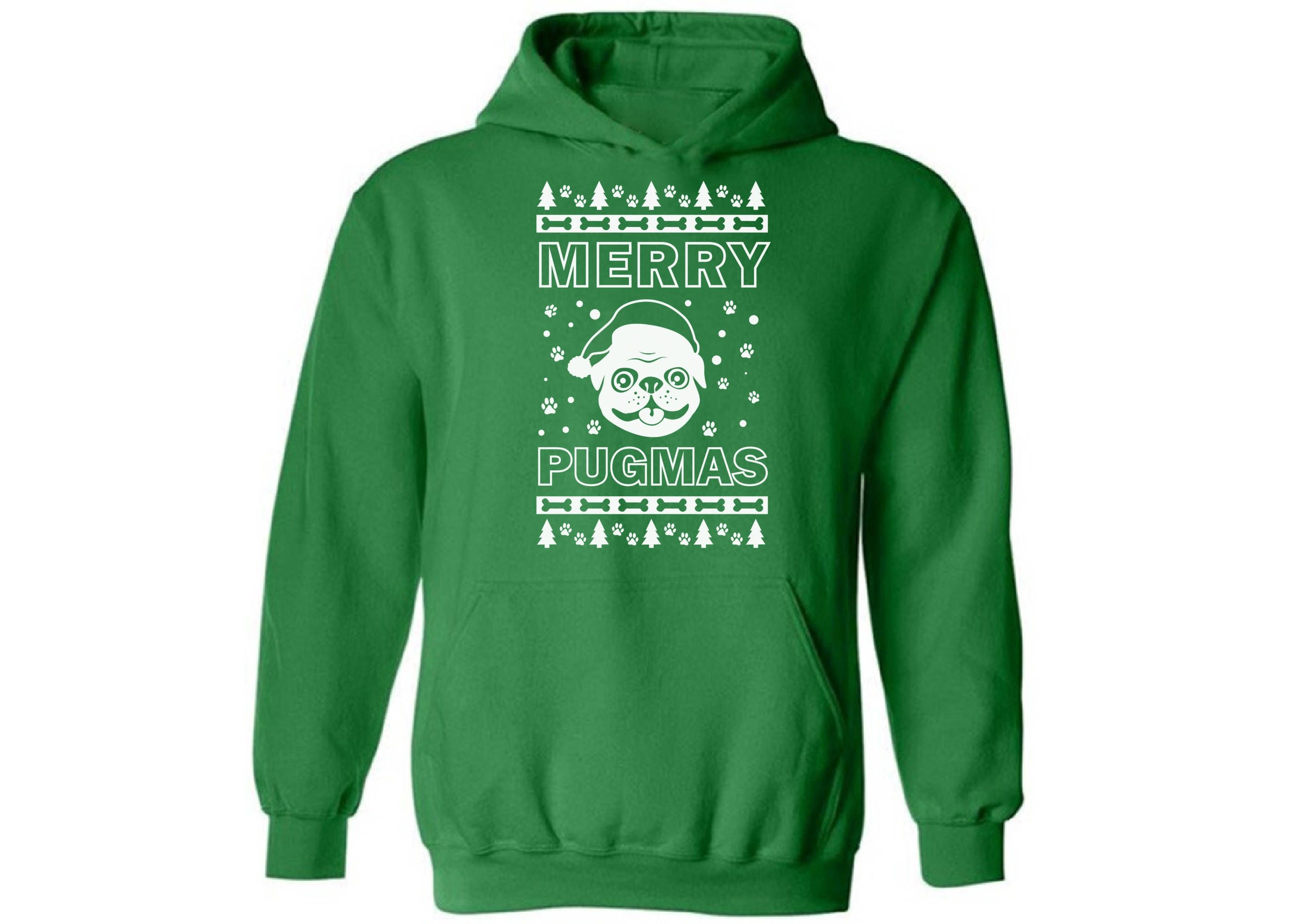 Merry Pugmas Christmas Hooded sweatshirt Xmas sweatshirt for men for women Christmas hoodie Ugly Christmas sweater