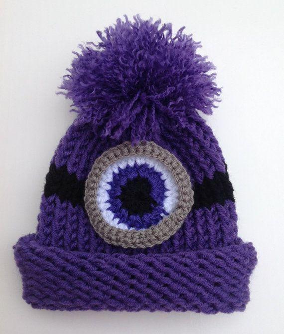 9b27e6a787b07 Evil Minion Inspired Hat Purple Monster Hat Halloween Preemie Infant ...