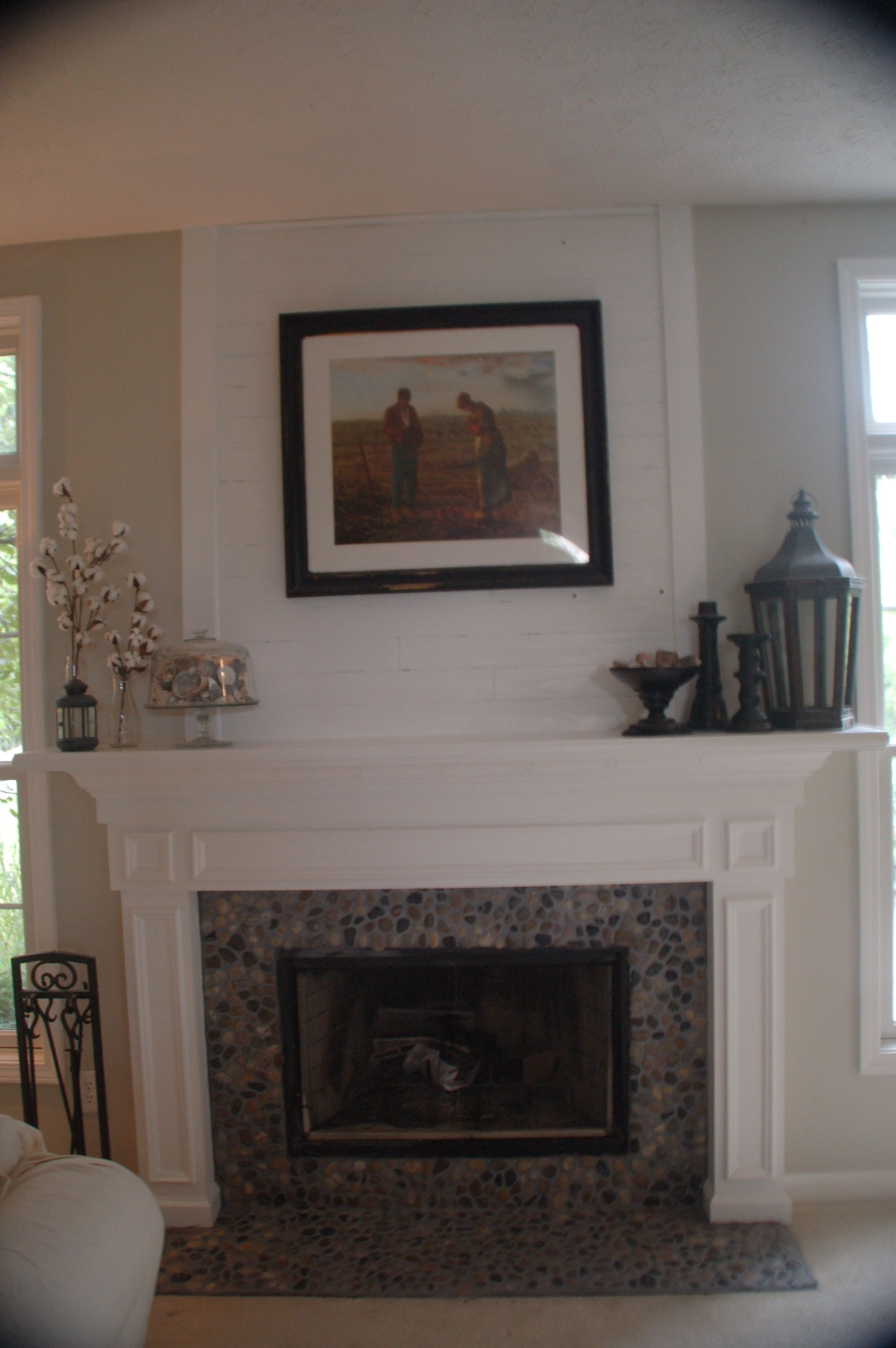 rock fireplace mantel. River Rock And Shiplap Fireplace Mantel Make Over  Decorating Ideas