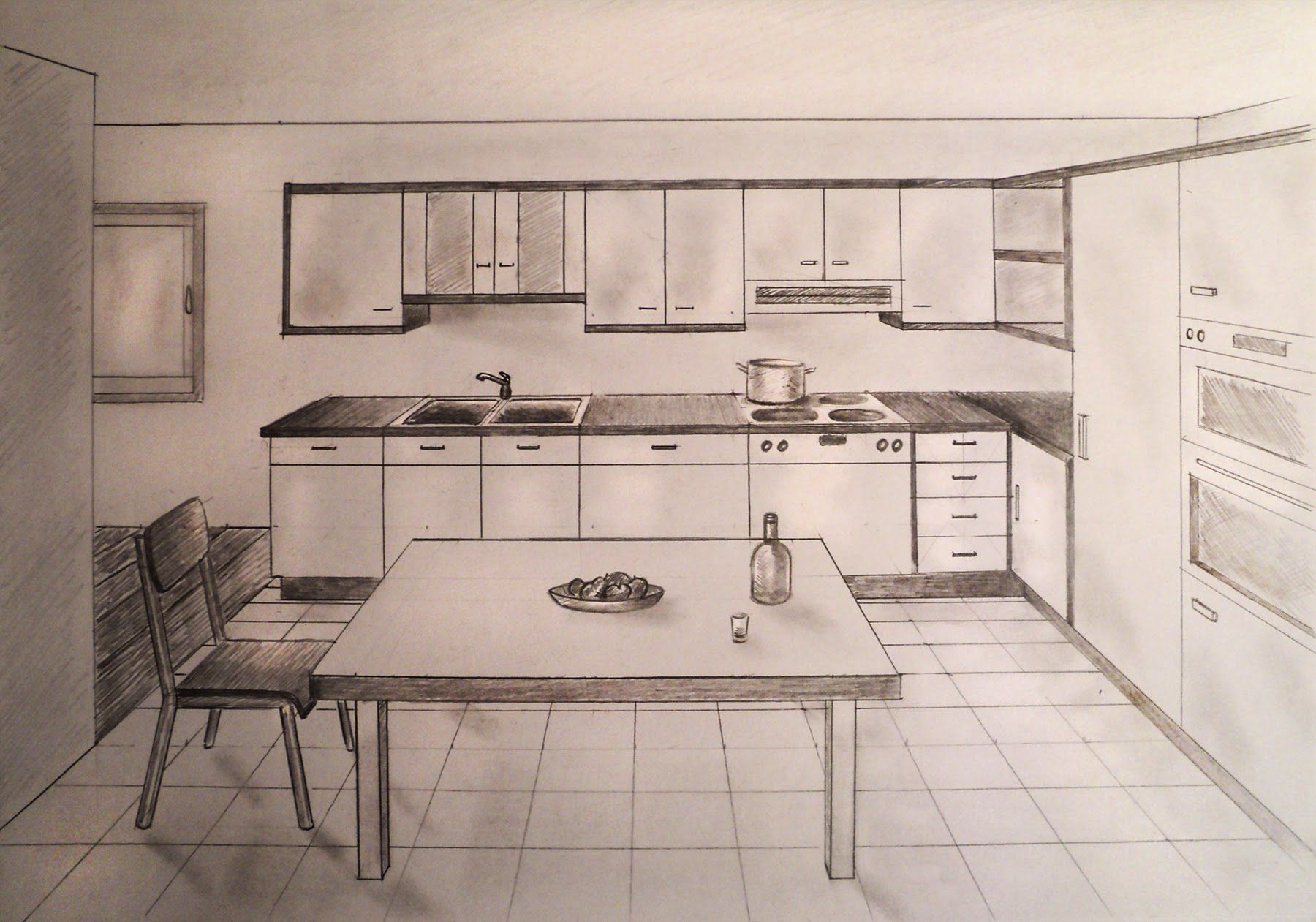 Beau How To Draw   One Point Perspective Kitchen With Furniture, Desk