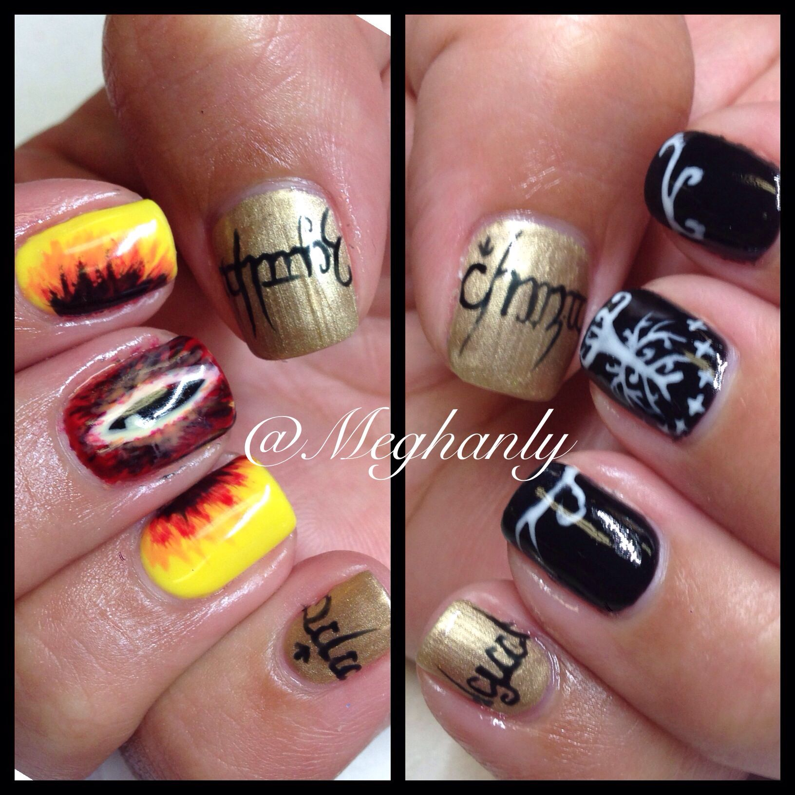 Lord of the rings nails, lord of the rings. Eye of Sauron, tree of ...