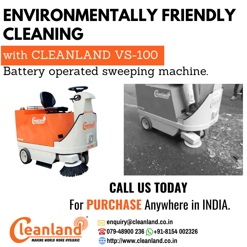 Environmentally Friendly Cleaning With Cleanland Vs 100 Battery Operated Sweeping Machine Call Us Today For Pu Battery Operated Sugar Industry Road Sweeper