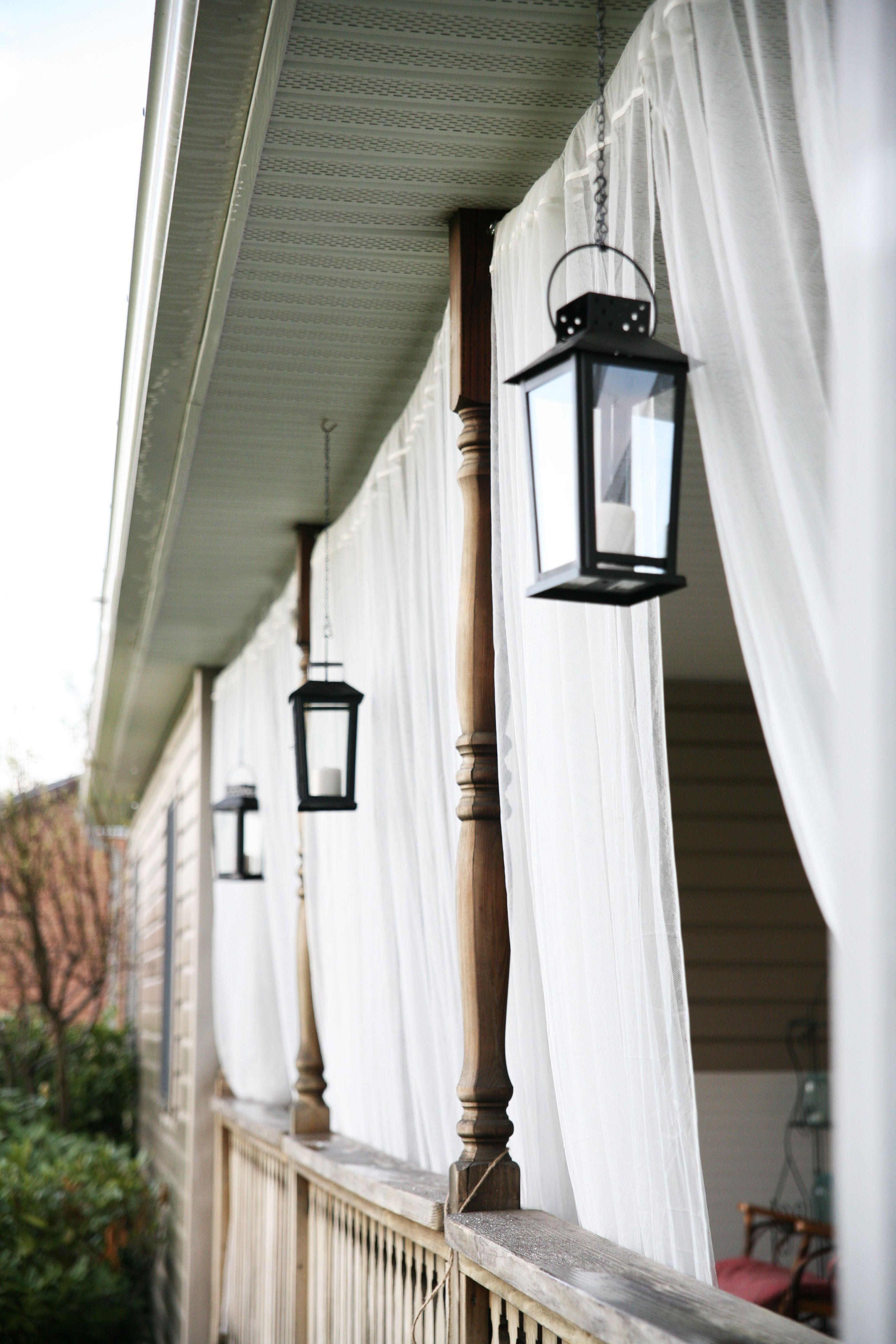 Front porch mosquito netting curtains and lanterns | Backyard ...