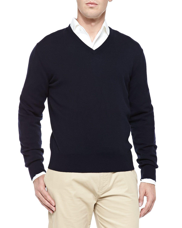 Baby Cashmere V-Neck Sweater, Blue Navy, Women's, Size: 54 - Loro ...