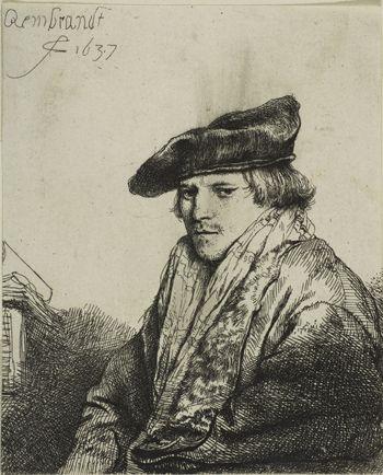 """Rembrandt van Rijn, """"Young Man in a Velvet Cap (Ferdinand Bol),"""" 1637. Etching…"""
