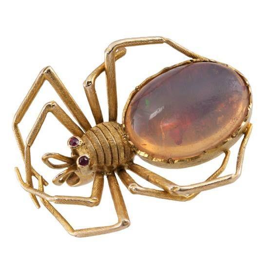 19th c. Early Victorian spider pin. Opal body, garnet eyes