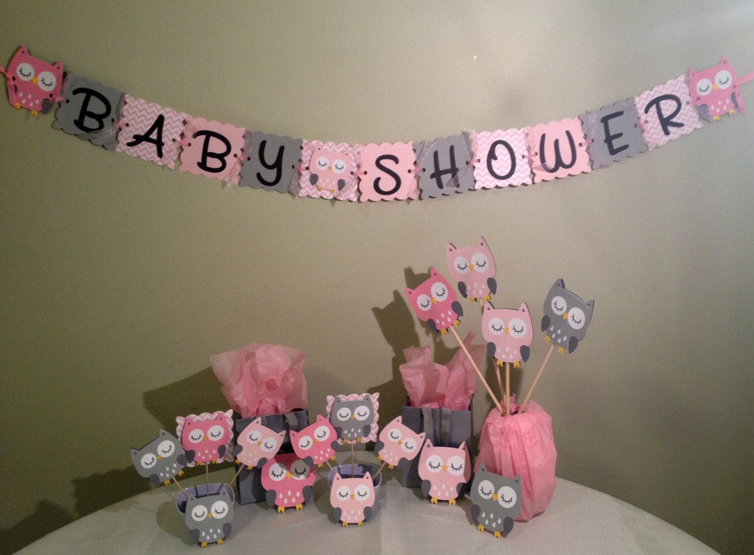 Good Owl Baby Shower Decorations Package   Owl Baby Shower   Pink White Grey   Baby Girl Decorations