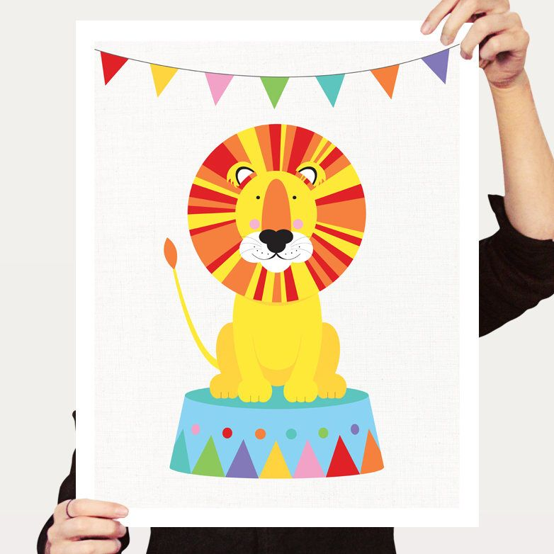 Circus lion art nursery print - fun colourful art for kids rooms ...