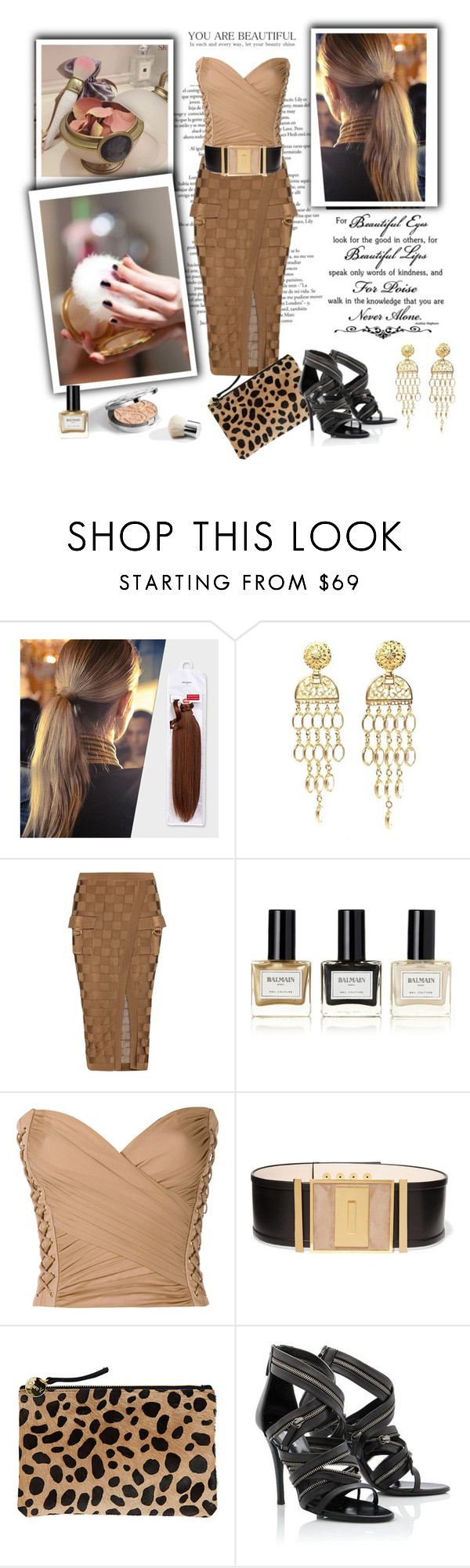 """CHIARA"" by livelfashion ❤ liked on Polyvore featuring Balmain, Clare V. and Giuseppe Zanotti"