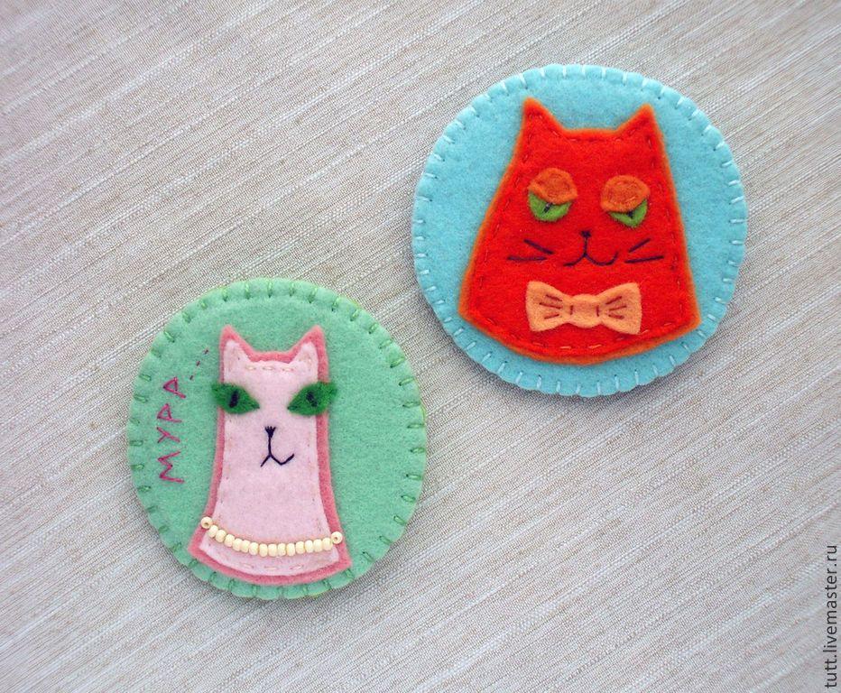 Купить Брошь детская - подарок, мордочки зверей, подарок девочке, Кошки, кошки с харктером, фетр