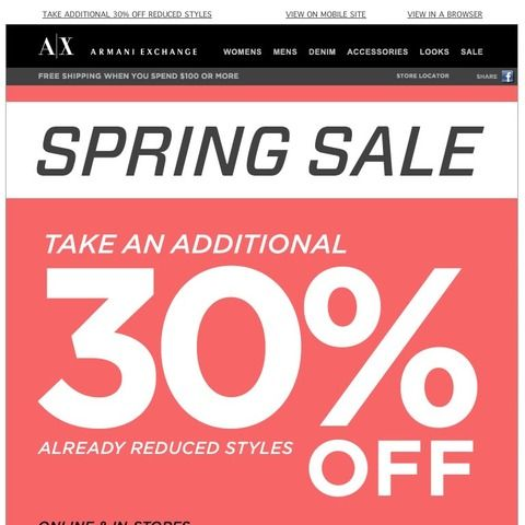 Armani Exchange - Take an Additional 30% Off Already Reduced Styles