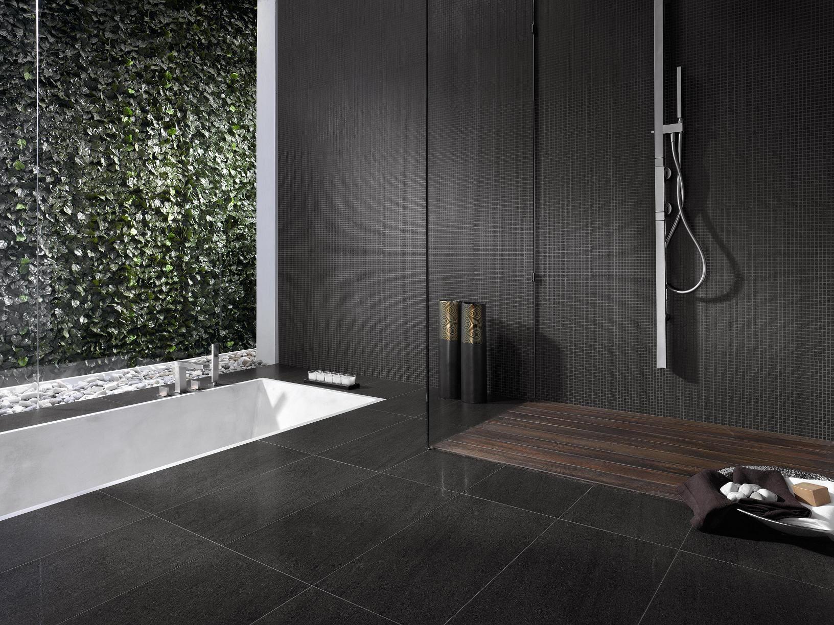 Elegant Modern Japanese Style Bathroom Design With Wall Mount Stainless Steel Faucet Black Minimalist Bathroom Minimalist Bathroom Design Marble Bathroom Floor
