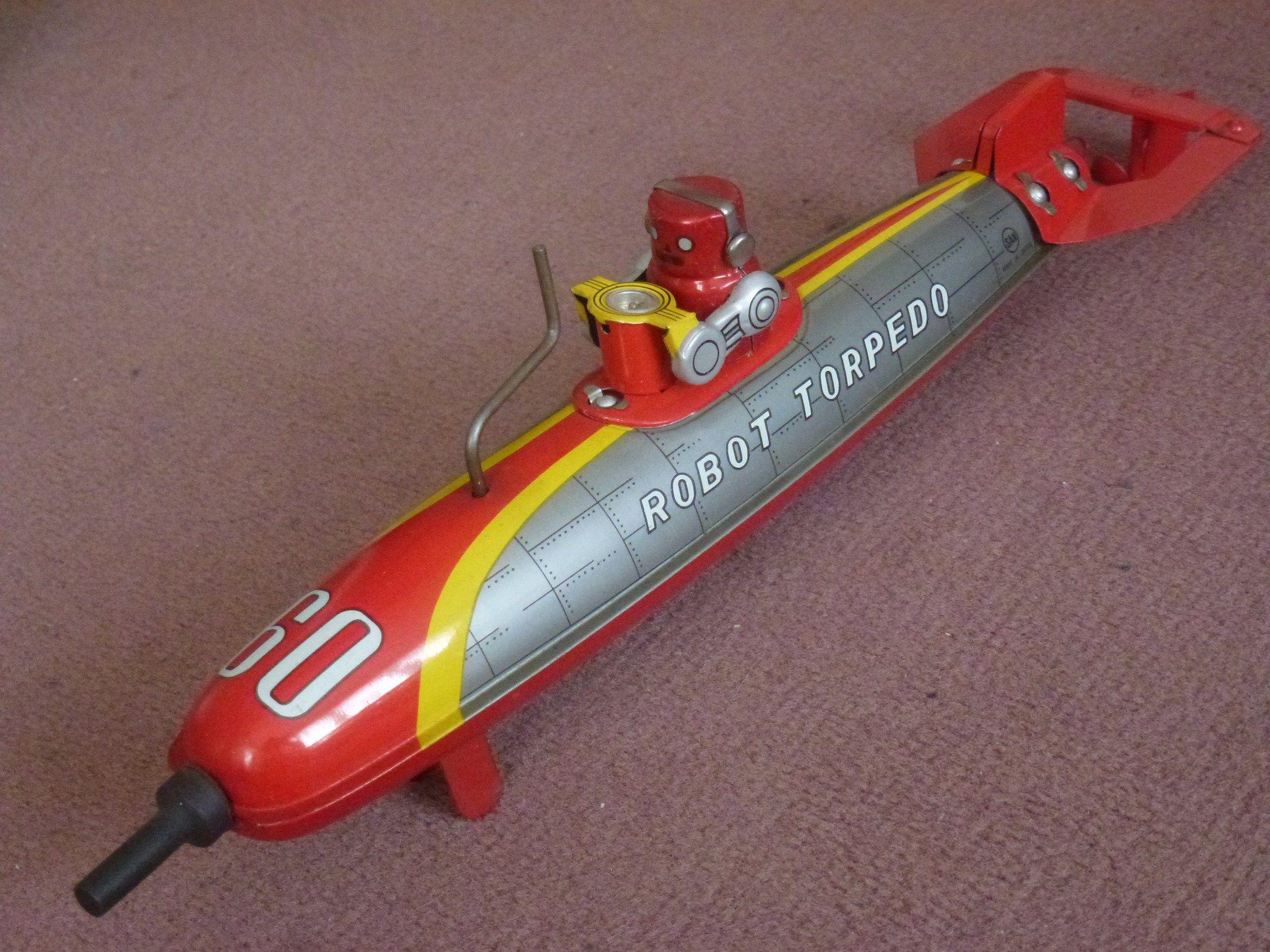 jouet japonais robot torpedo sous marin friction avec pilote vers 1965 collection marc t. Black Bedroom Furniture Sets. Home Design Ideas