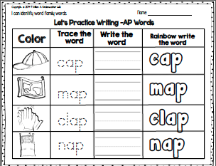 FREEBIE - color, trace, write and rainbow write -ap words ...