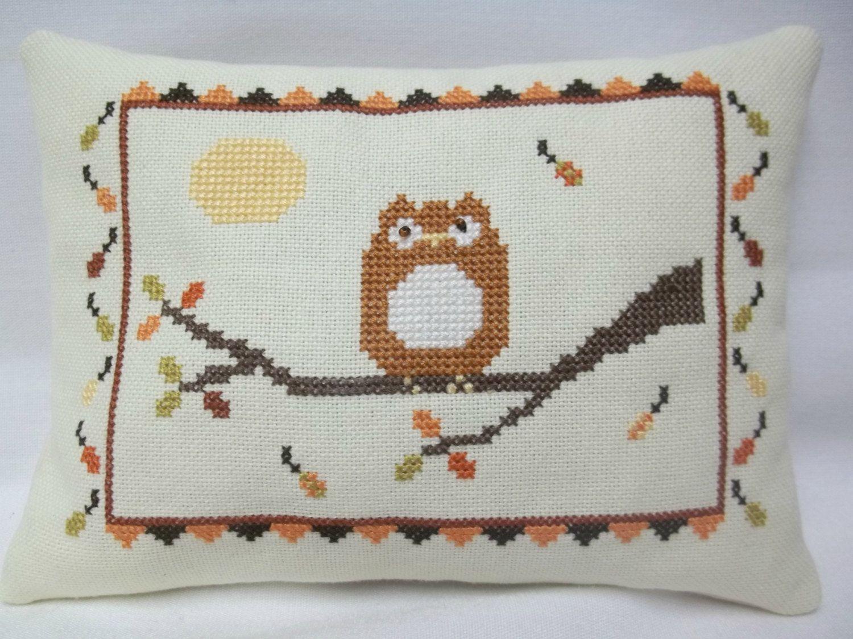 Owl Cross Stitched Fall Mini Pillow / Halloween Shelf Sitter by luvinstitchin4u on Etsy