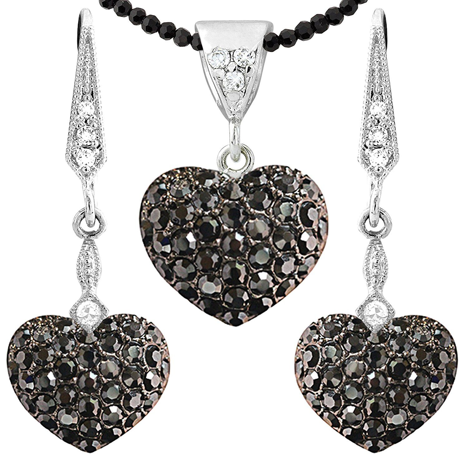 Womens Chain Pendant CZ Cut You Heart Shaped Black ANAZOZ Stainless Steel Necklaces
