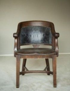 #gator #leather #wood chair #antique stuffed with horse hair (which means it's really old)