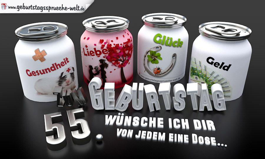 3d Geburtstagskarte Mit Gluckwunschen In Dosen Zum 55 Geburtstag