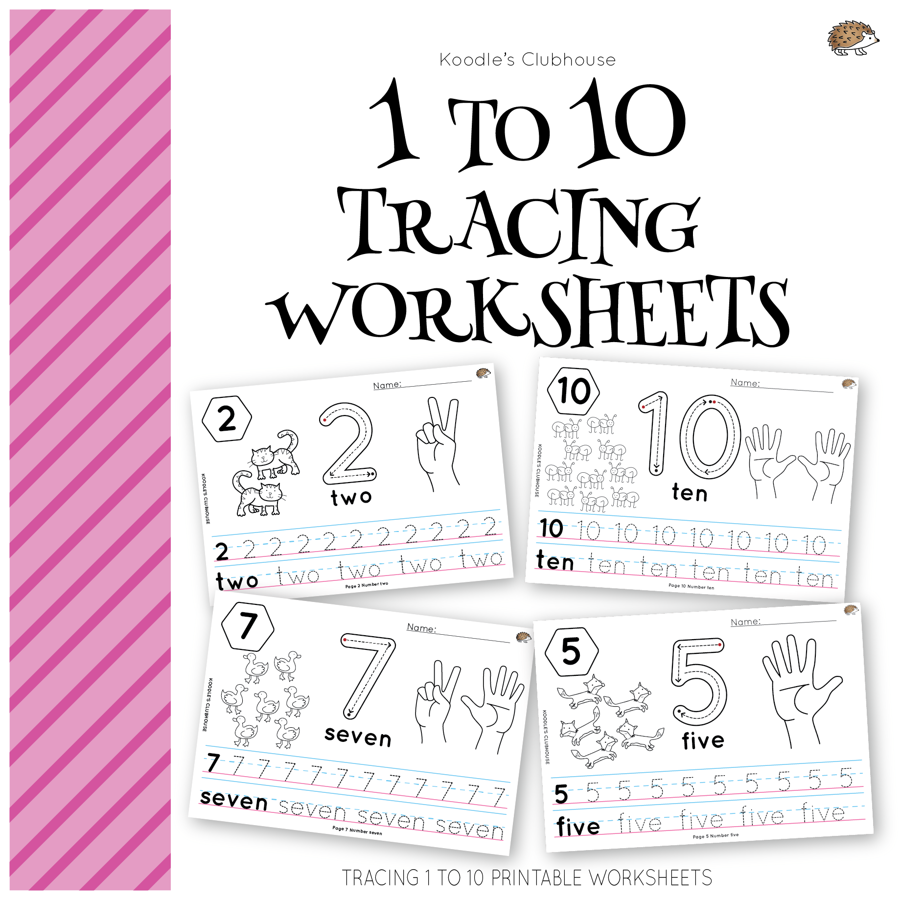 Number 1 To 10 Tracing Worksheets From Koodle S Clubhouse