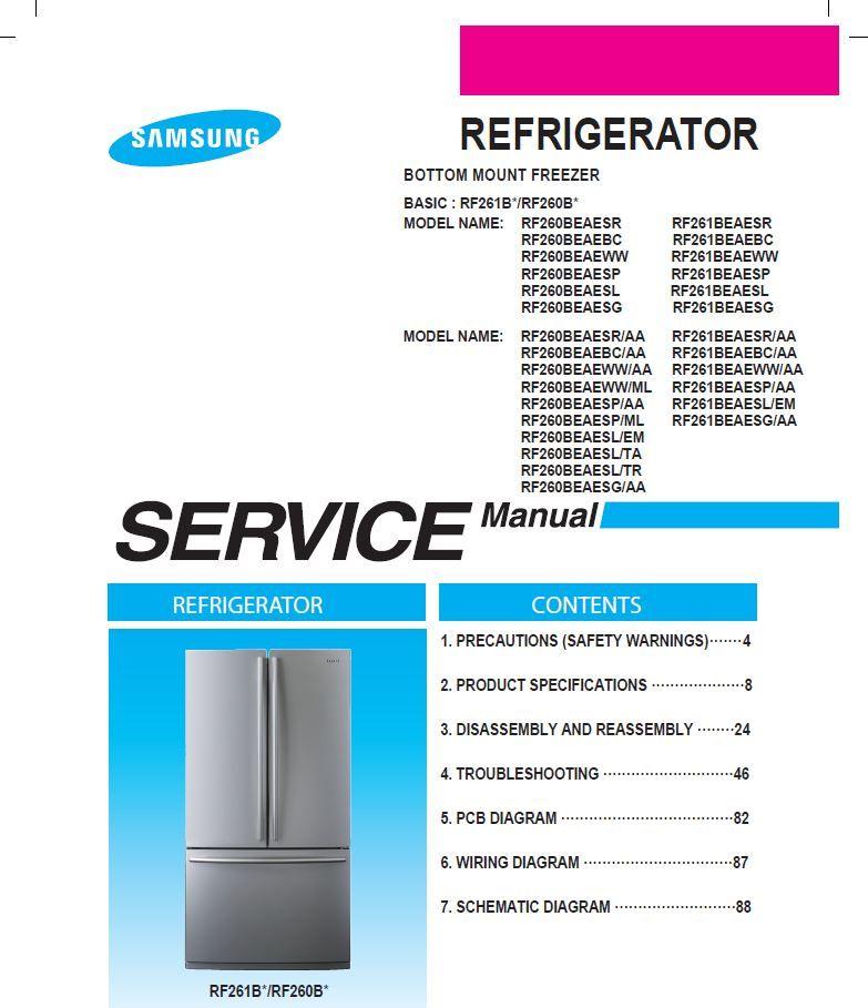 Samsung Rf261beae Rf260beae Refrigerator Service Repair Manual Refrigerator Service Repair Guide Appliance Repair Shop