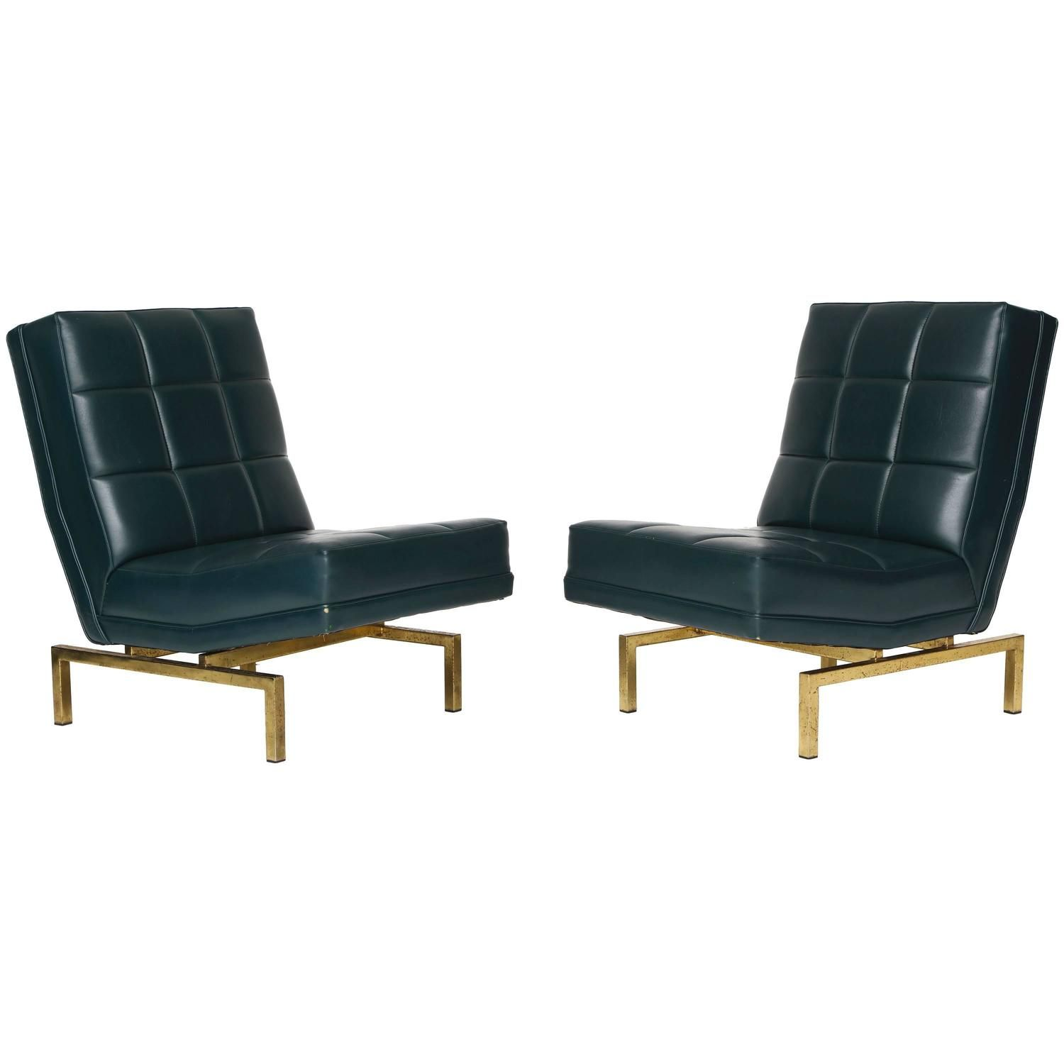 Louis Paolozzi Mid-Century Lounge Chairs on Brass Bases, French, 1950s
