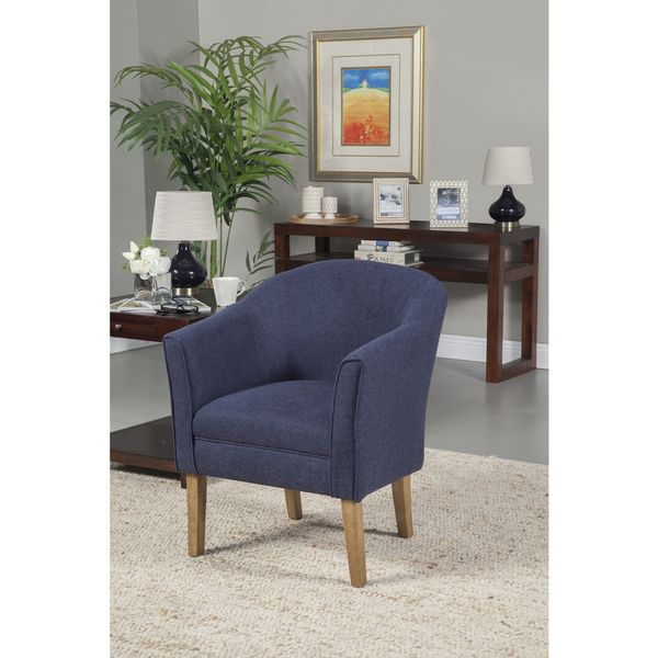 HomePop Navy Chunky Textured Accent Chair (Navy Chunky Textured Solid Woven  Fabric), Blue
