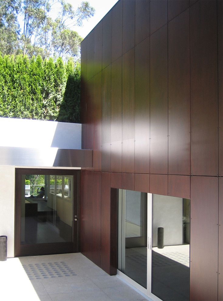 Exterior House Designs Exterior Modern With Concrete Patio Flat Roof: Entry - Simple And Clean, With Beautiful Materiality Adjacent To It With Trespa Panels