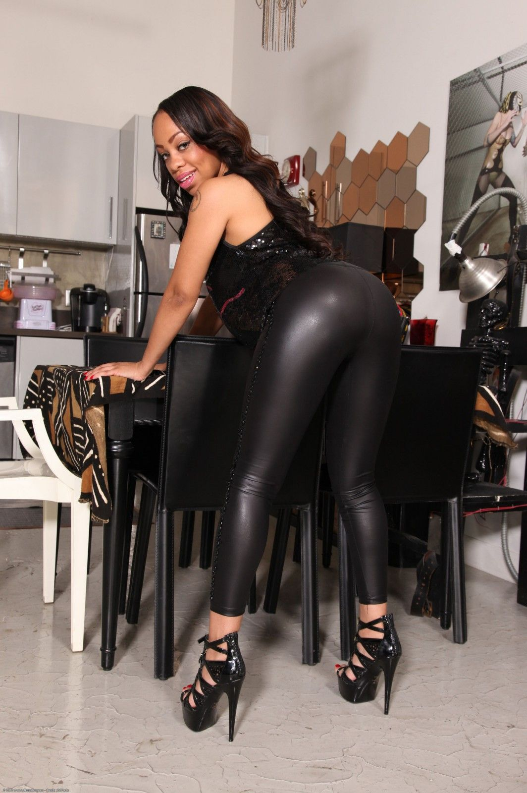 Wet Look Leggings Shiny Leggings Leather Leggings Melrose Foxxx