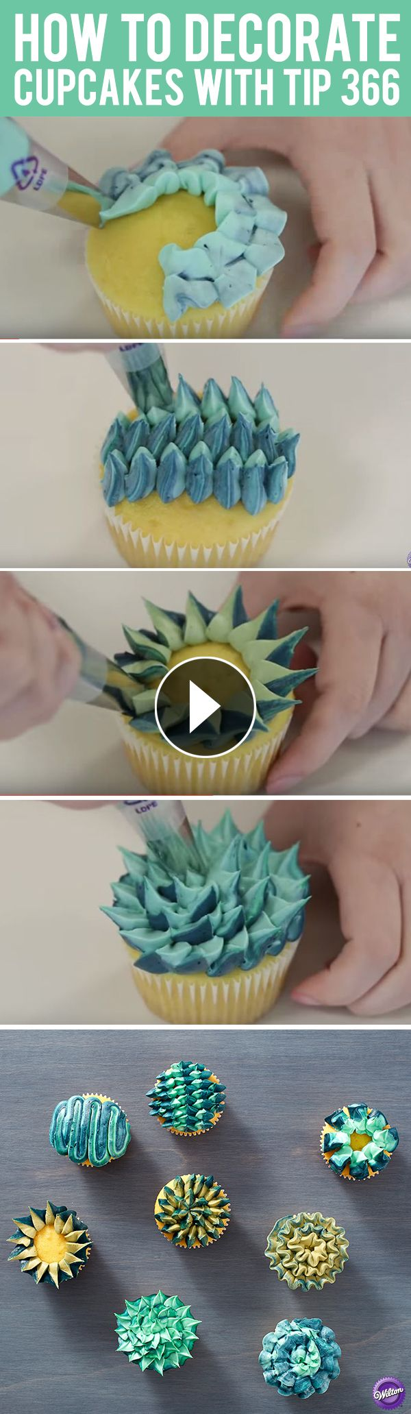 Learn 8 different ways to decorate cupcakes using only one tip - Wilton leaf decorating tip 366! A fun idea for parties and for decorators looking to fine-tune their piping skills, these fun cupcake designs can also be made using any icing color combination you'd like. #cakedecoratingvideos